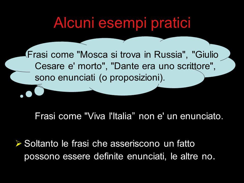 Alcuni esempi pratici Frasi come Mosca si trova in Russia , Giulio Cesare e morto , Dante era uno scrittore , sono enunciati (o proposizioni).