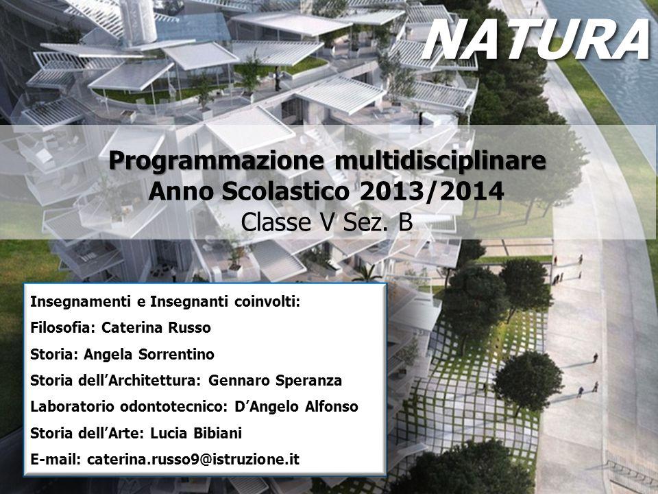 NATURA Programmazione multidisciplinare Anno Scolastico 2013/2014 Classe V Sez. B. Insegnamenti e Insegnanti coinvolti: