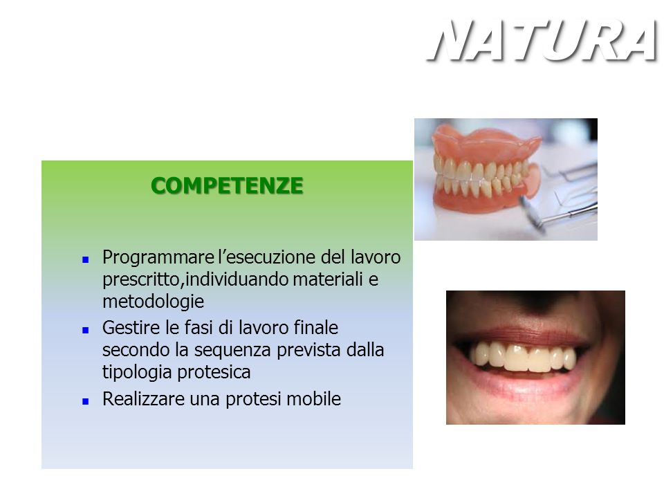 NATURA COMPETENZE. Programmare l'esecuzione del lavoro prescritto,individuando materiali e metodologie.