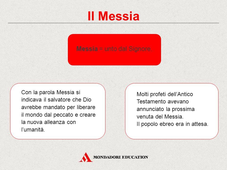 Il Messia Messia = unto dal Signore.