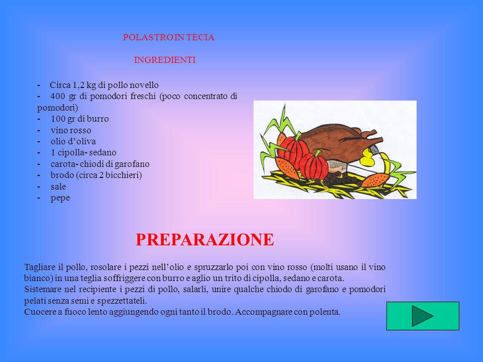 PREPARAZIONE POLASTRO IN TECIA INGREDIENTI