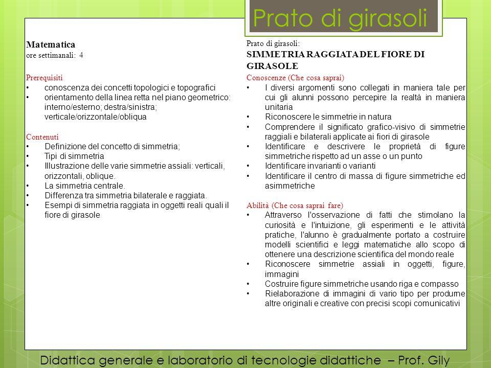 Didattica generale e laboratorio di tecnologie didattiche – Prof. Gily