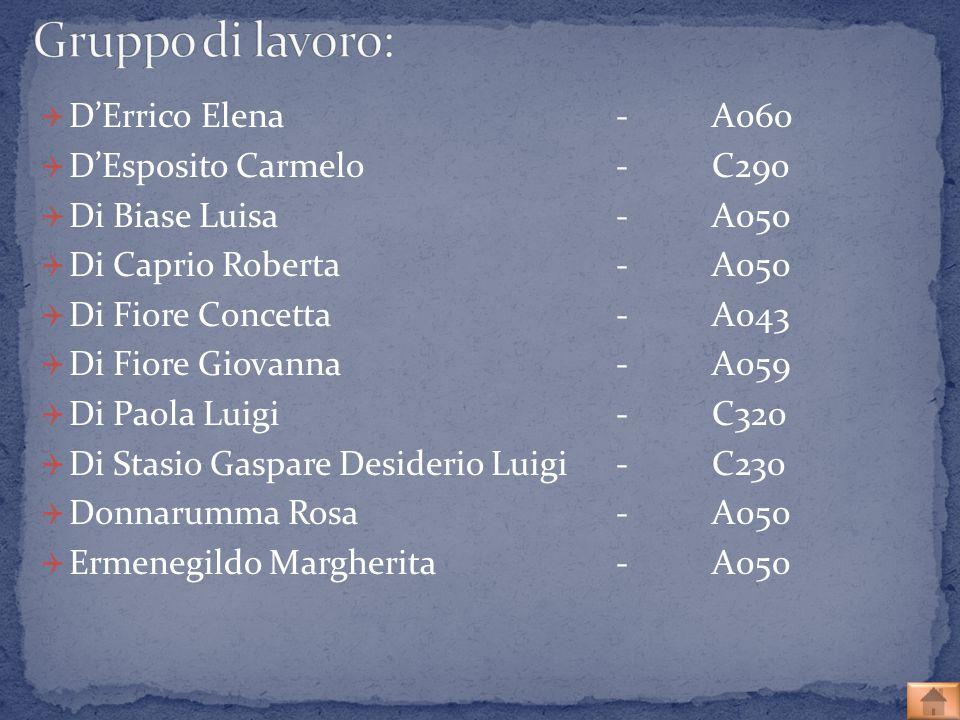 Gruppo di lavoro: D'Errico Elena - A060 D'Esposito Carmelo - C290