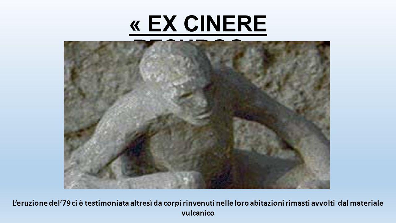 « EX CINERE RESURGO » L'eruzione del'79 ci è testimoniata altresì da corpi rinvenuti nelle loro abitazioni rimasti avvolti dal materiale vulcanico.