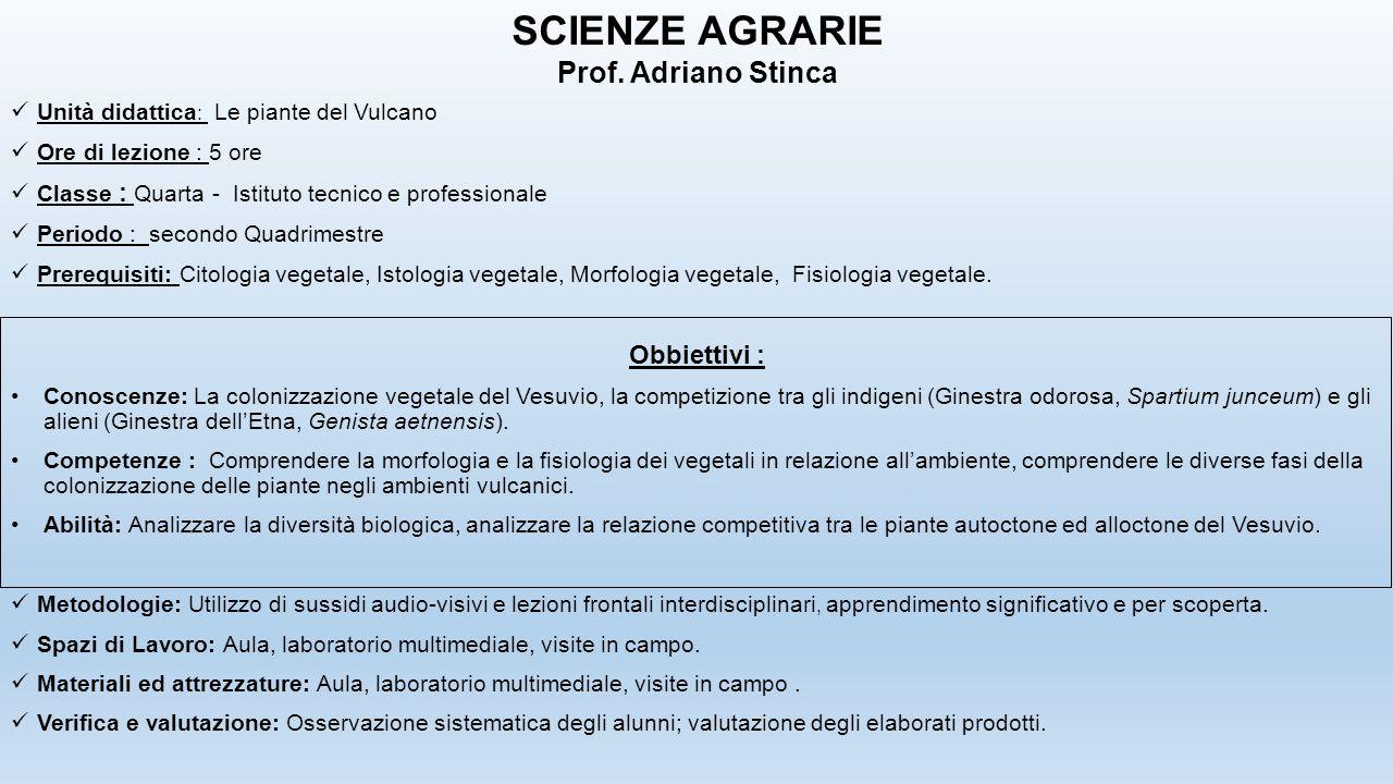 SCIENZE AGRARIE Prof. Adriano Stinca Obbiettivi :