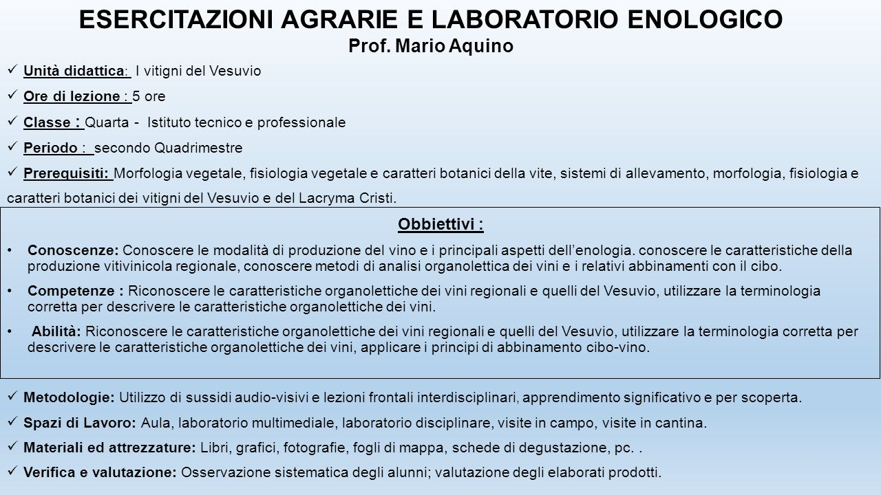 ESERCITAZIONI AGRARIE E LABORATORIO ENOLOGICO
