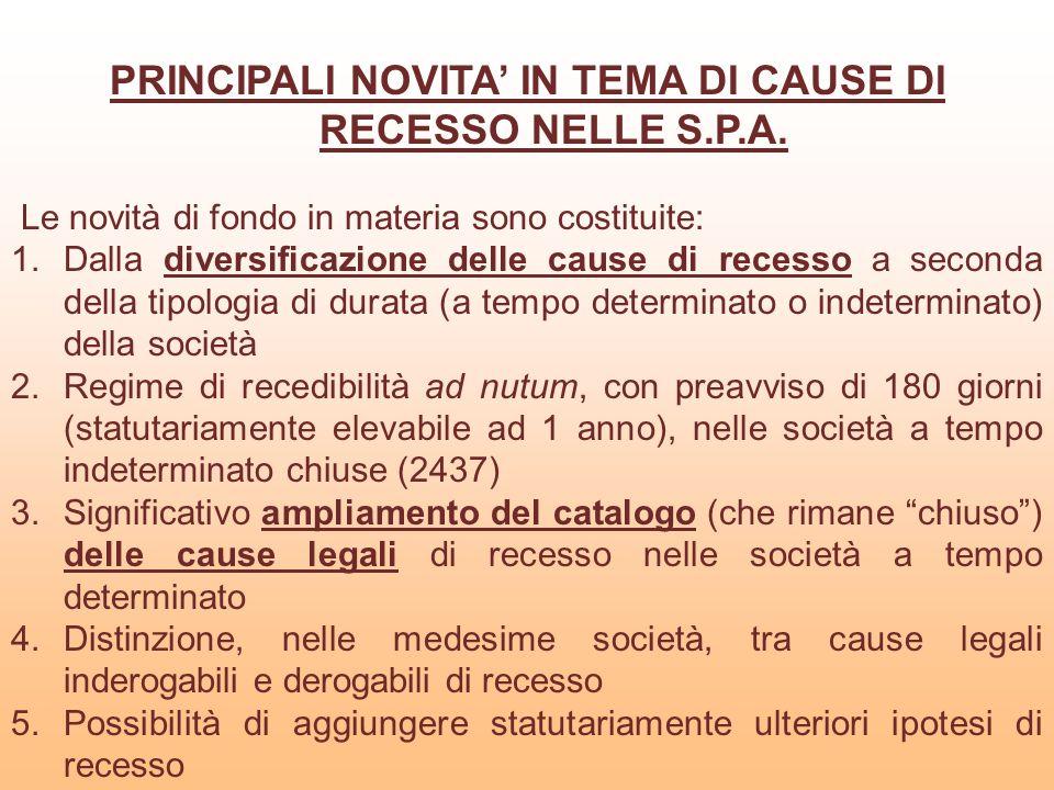 PRINCIPALI NOVITA' IN TEMA DI CAUSE DI RECESSO NELLE S.P.A.