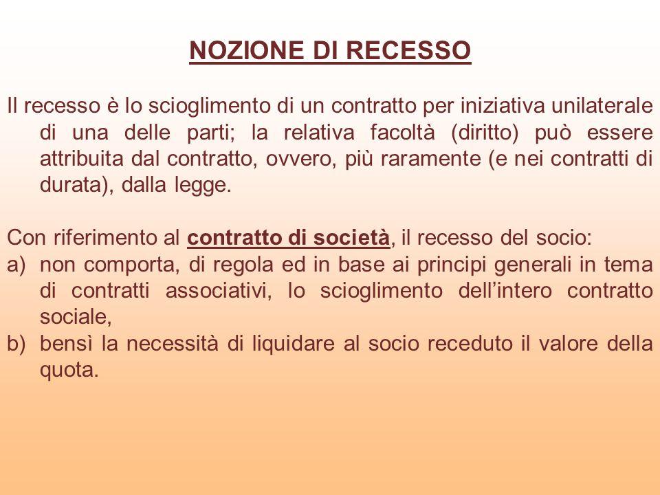 NOZIONE DI RECESSO