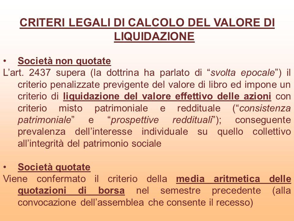 CRITERI LEGALI DI CALCOLO DEL VALORE DI LIQUIDAZIONE