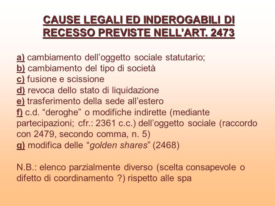 CAUSE LEGALI ED INDEROGABILI DI RECESSO PREVISTE NELL'ART. 2473