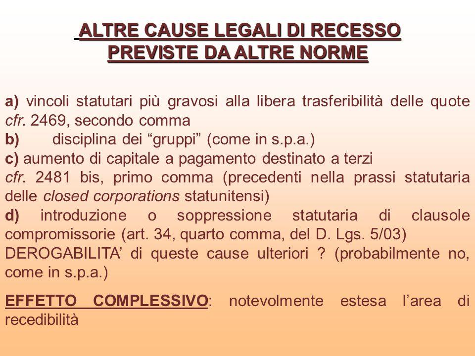 ALTRE CAUSE LEGALI DI RECESSO PREVISTE DA ALTRE NORME