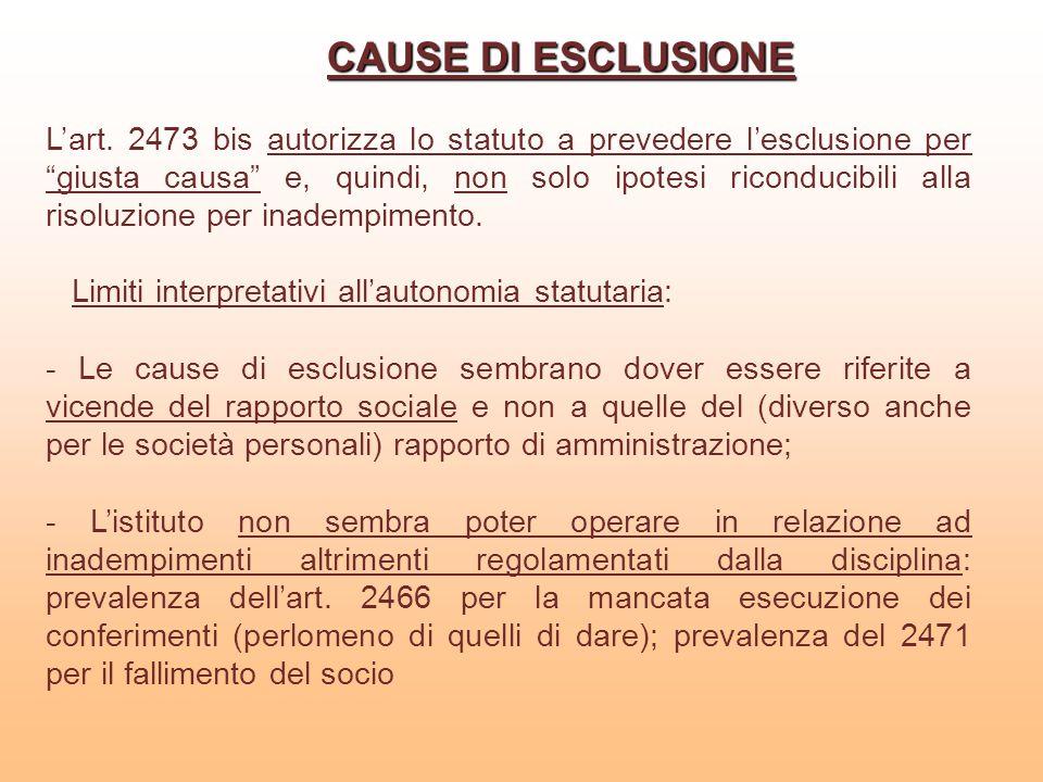 CAUSE DI ESCLUSIONE