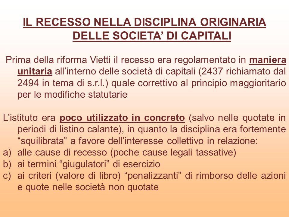 IL RECESSO NELLA DISCIPLINA ORIGINARIA DELLE SOCIETA' DI CAPITALI