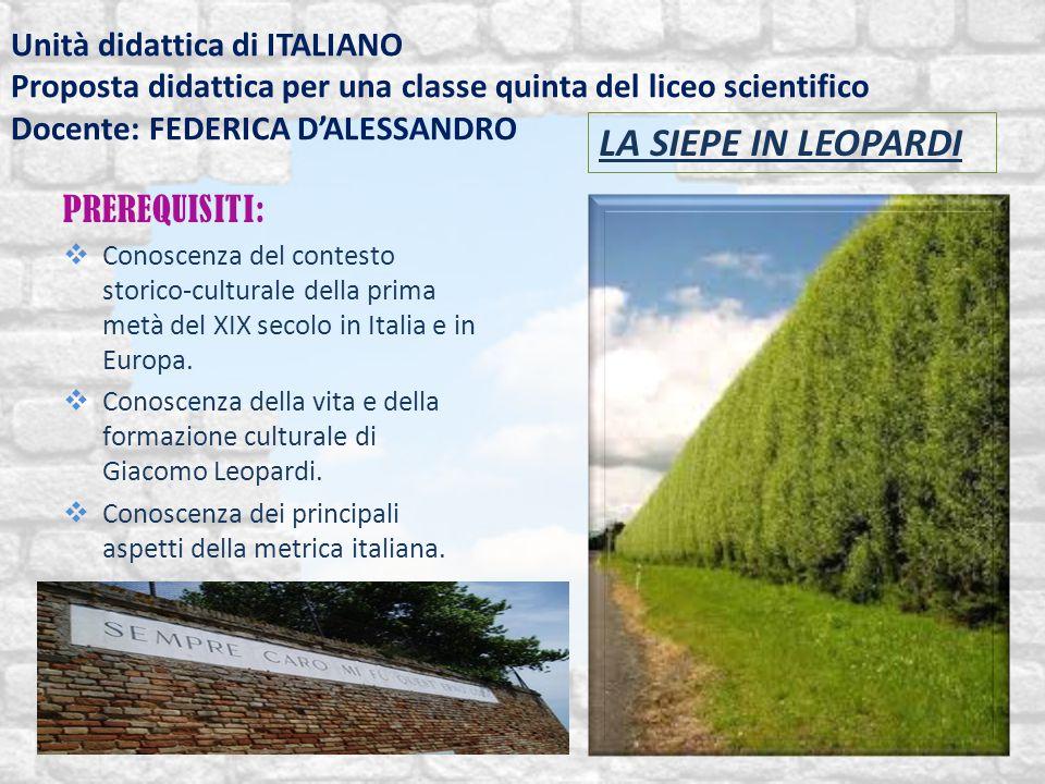 Unità didattica di ITALIANO Proposta didattica per una classe quinta del liceo scientifico Docente: FEDERICA D'ALESSANDRO