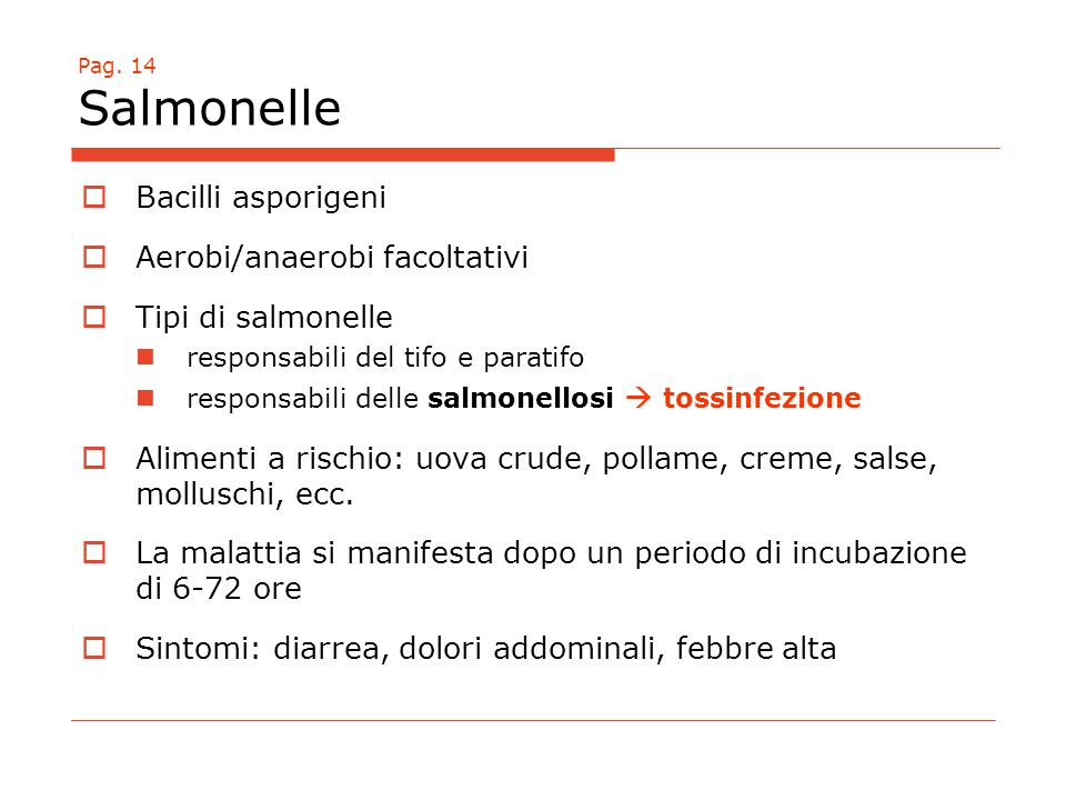 Aerobi/anaerobi facoltativi Tipi di salmonelle
