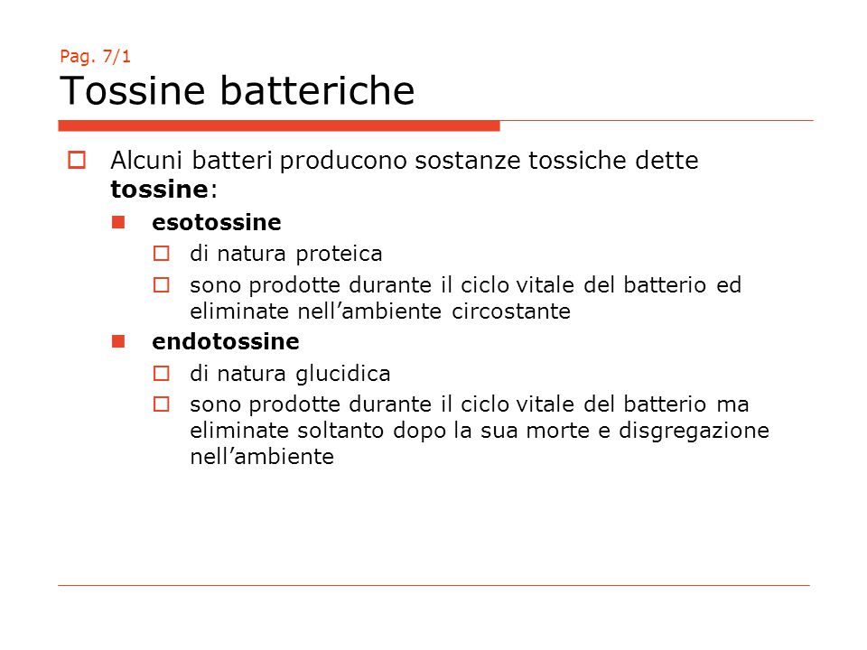 Pag. 7/1 Tossine batteriche