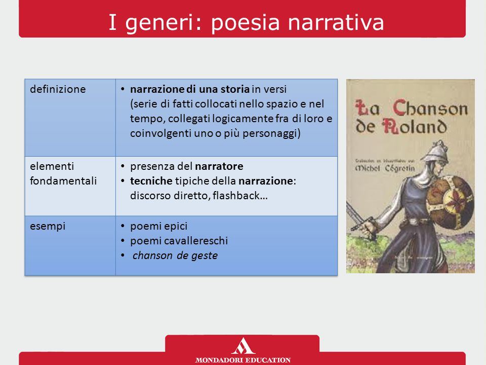 I generi: poesia narrativa