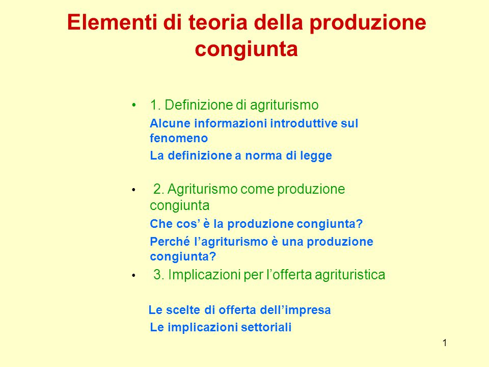 Elementi di teoria della produzione congiunta