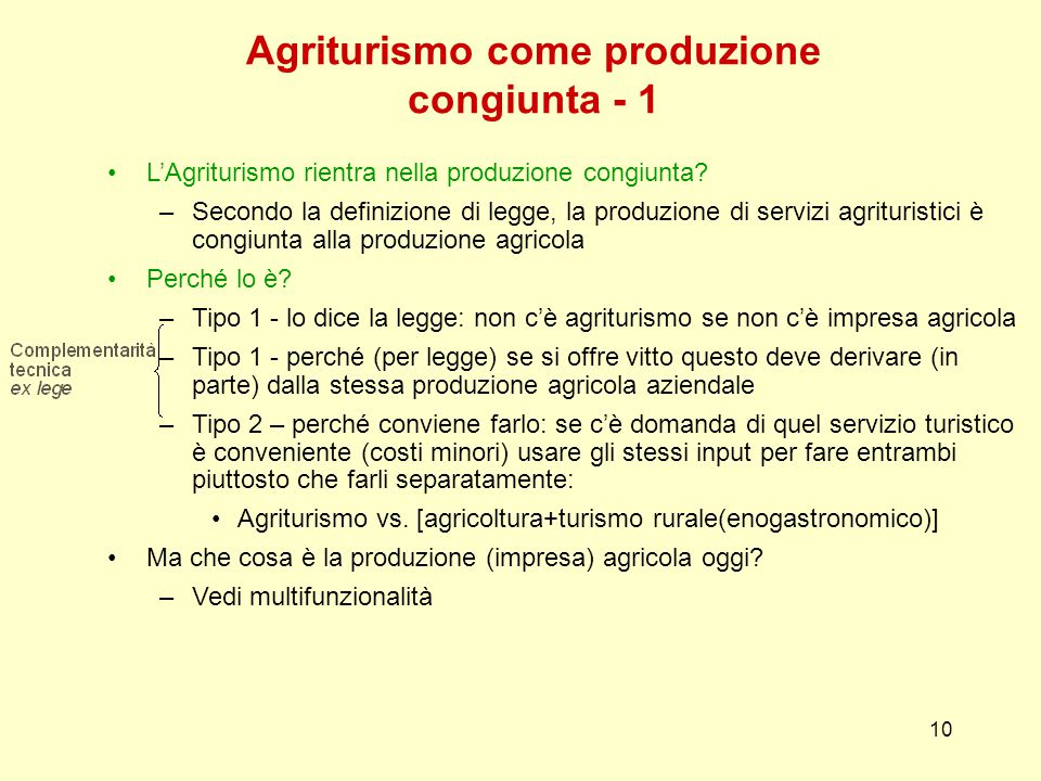Agriturismo come produzione congiunta - 1