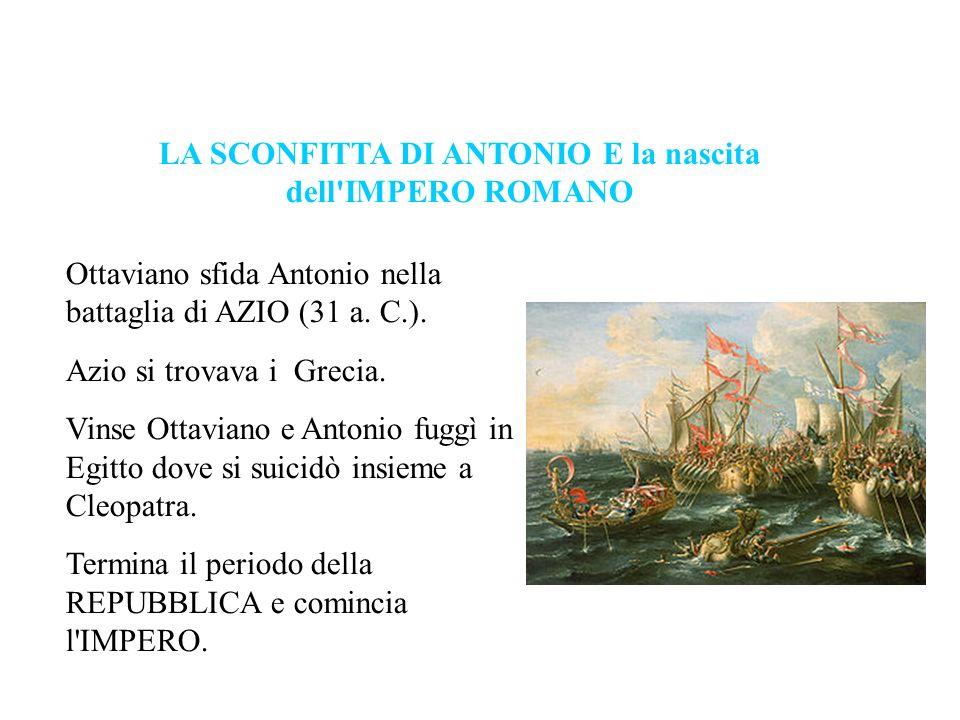 LA SCONFITTA DI ANTONIO E la nascita dell IMPERO ROMANO