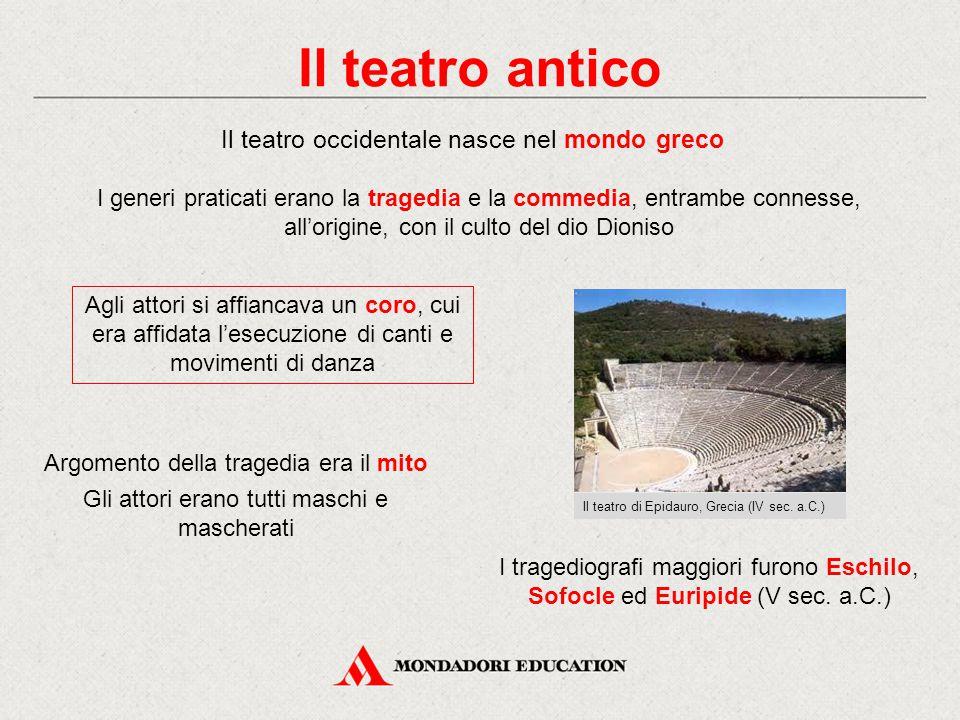 Il teatro antico Il teatro occidentale nasce nel mondo greco