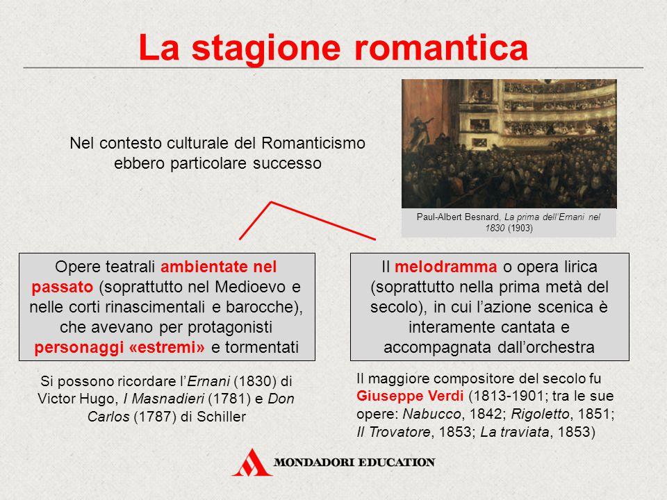 La stagione romantica Nel contesto culturale del Romanticismo ebbero particolare successo. Paul-Albert Besnard, La prima dell'Ernani nel 1830 (1903)