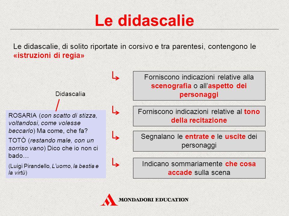 Le didascalie Le didascalie, di solito riportate in corsivo e tra parentesi, contengono le «istruzioni di regia»