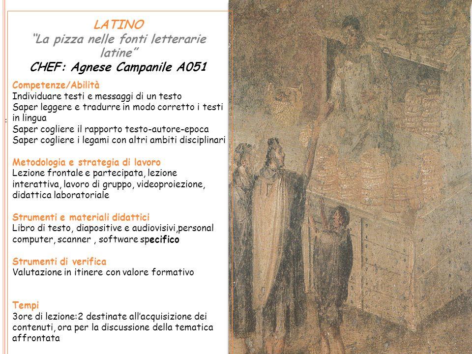 La pizza nelle fonti letterarie latine CHEF: Agnese Campanile A051
