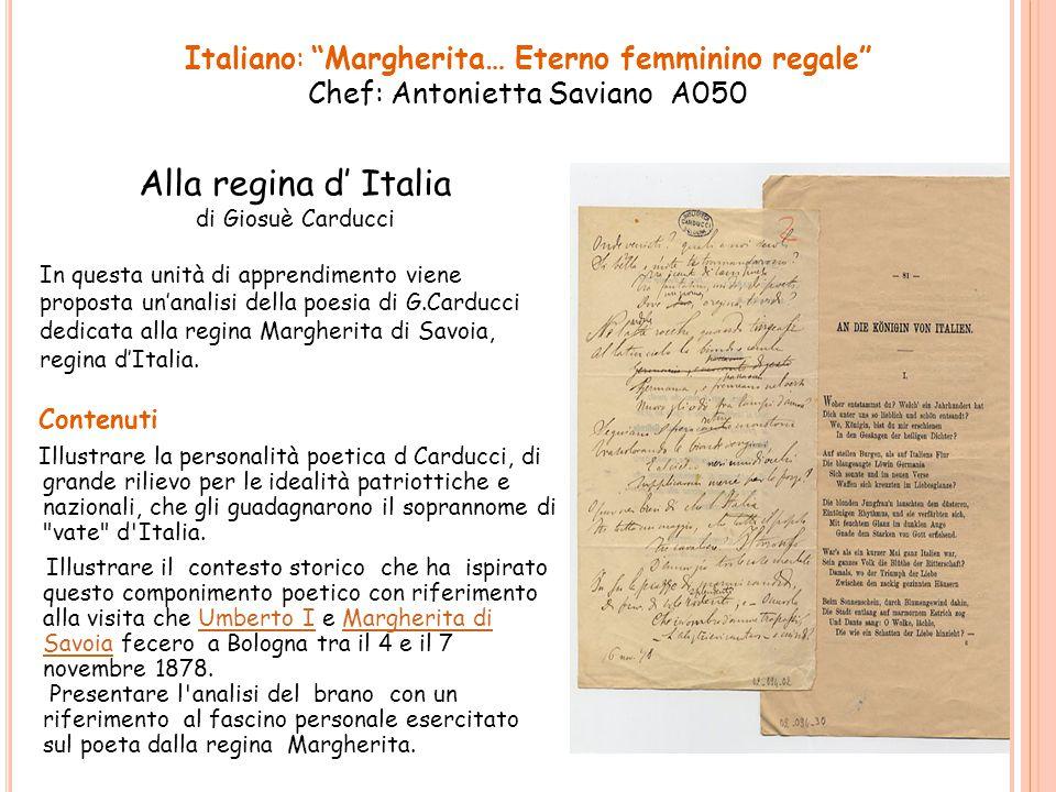 Alla regina d' Italia Contenuti