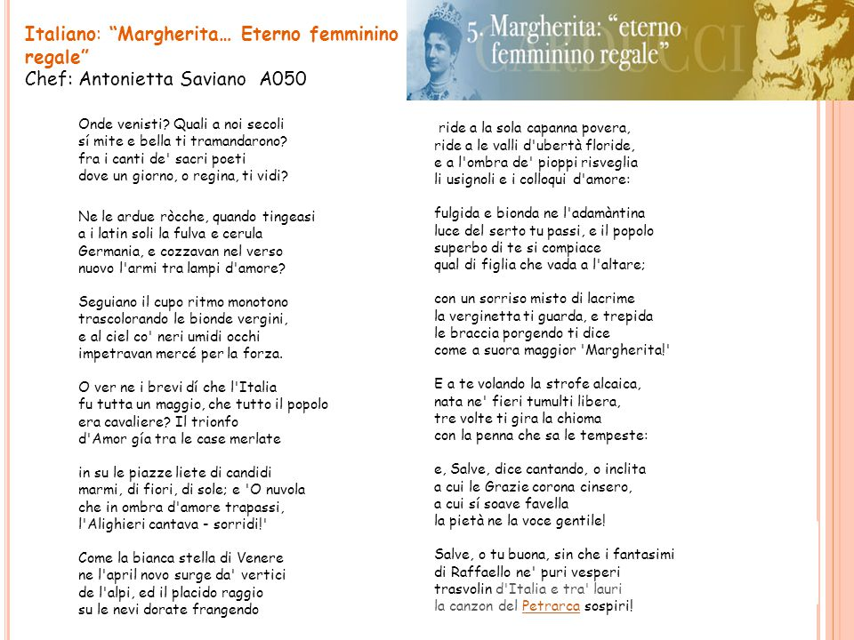 Italiano: Margherita… Eterno femminino regale Chef: Antonietta Saviano A050