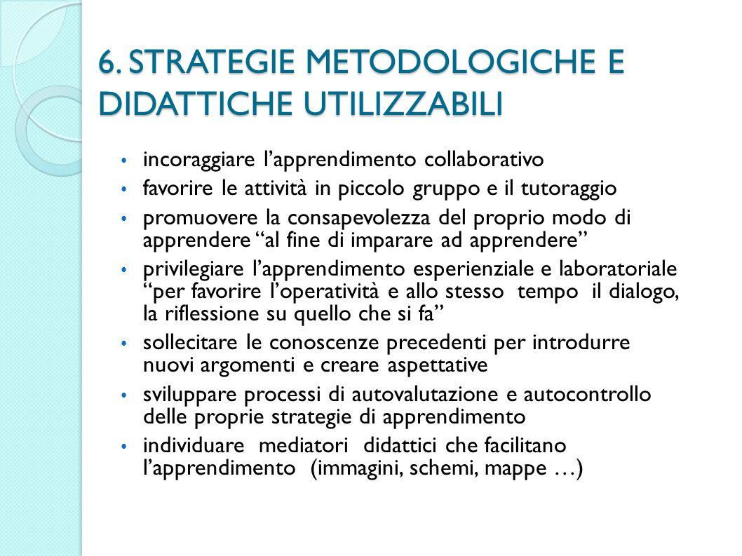 6. STRATEGIE METODOLOGICHE E DIDATTICHE UTILIZZABILI