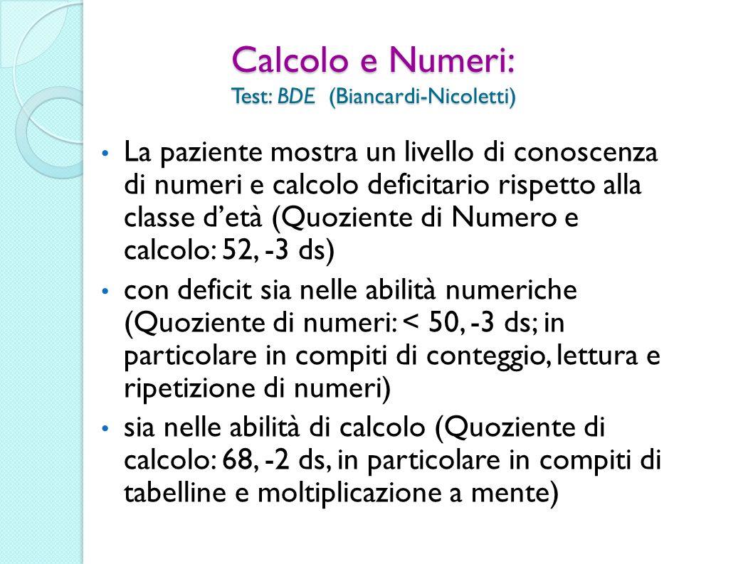 Calcolo e Numeri: Test: BDE (Biancardi-Nicoletti)