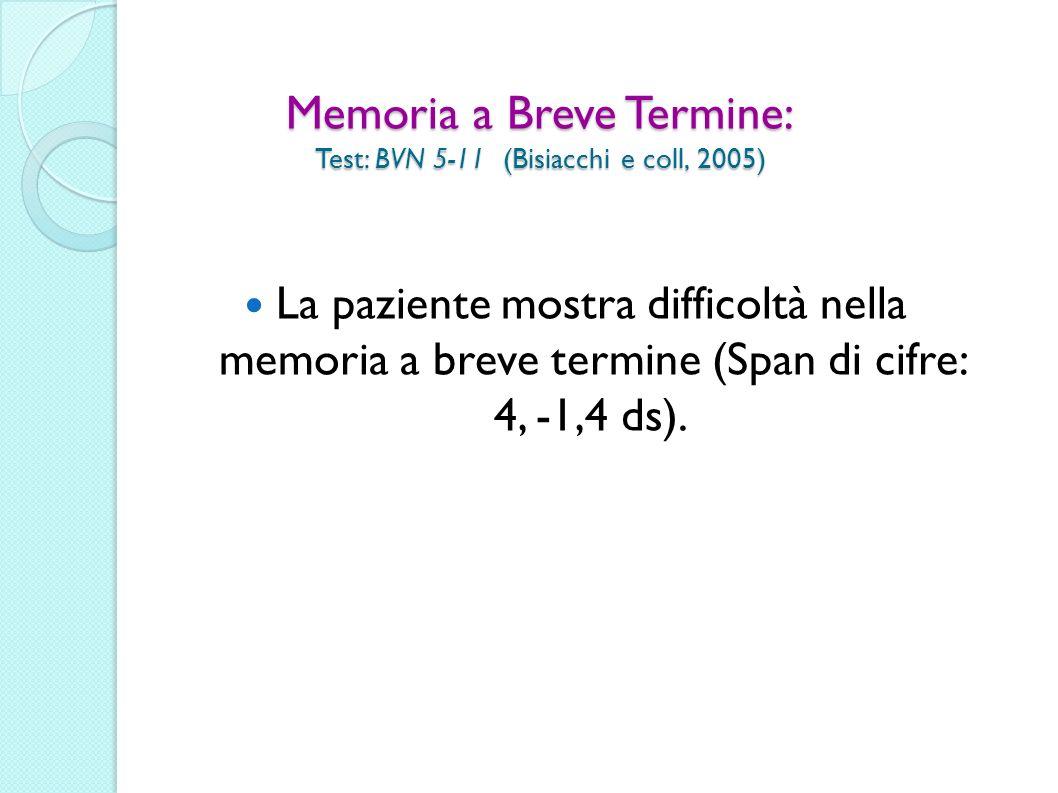 Memoria a Breve Termine: Test: BVN 5-11 (Bisiacchi e coll, 2005)