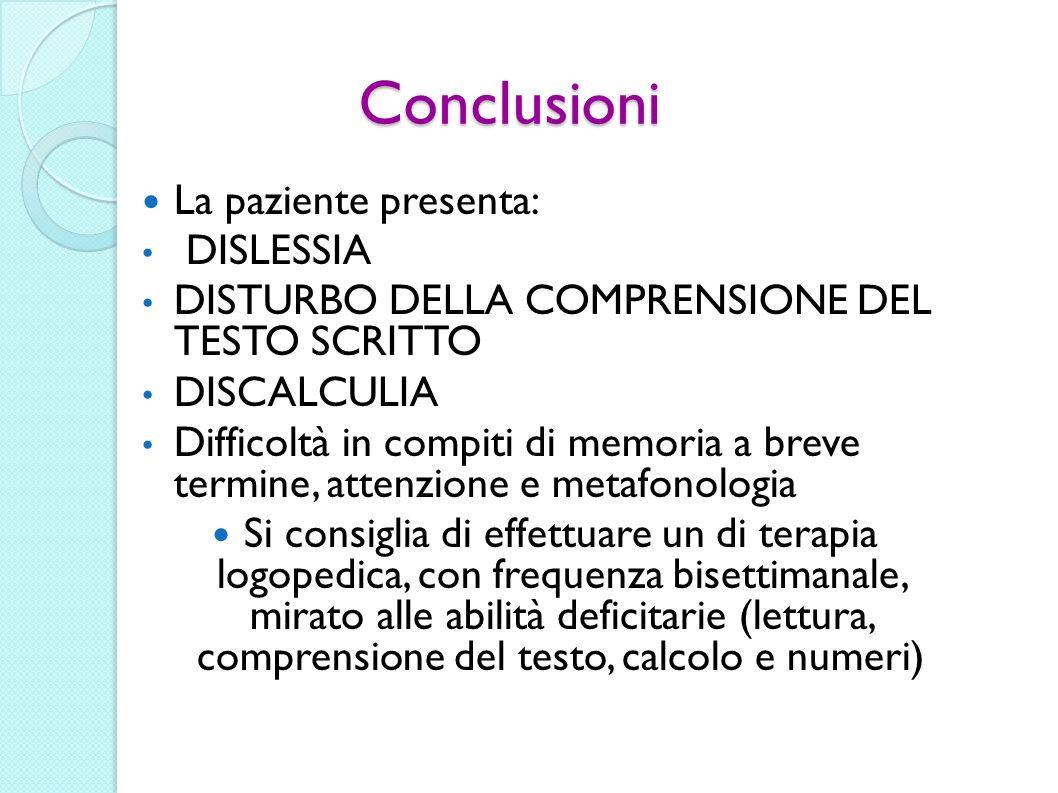 Conclusioni La paziente presenta: DISLESSIA