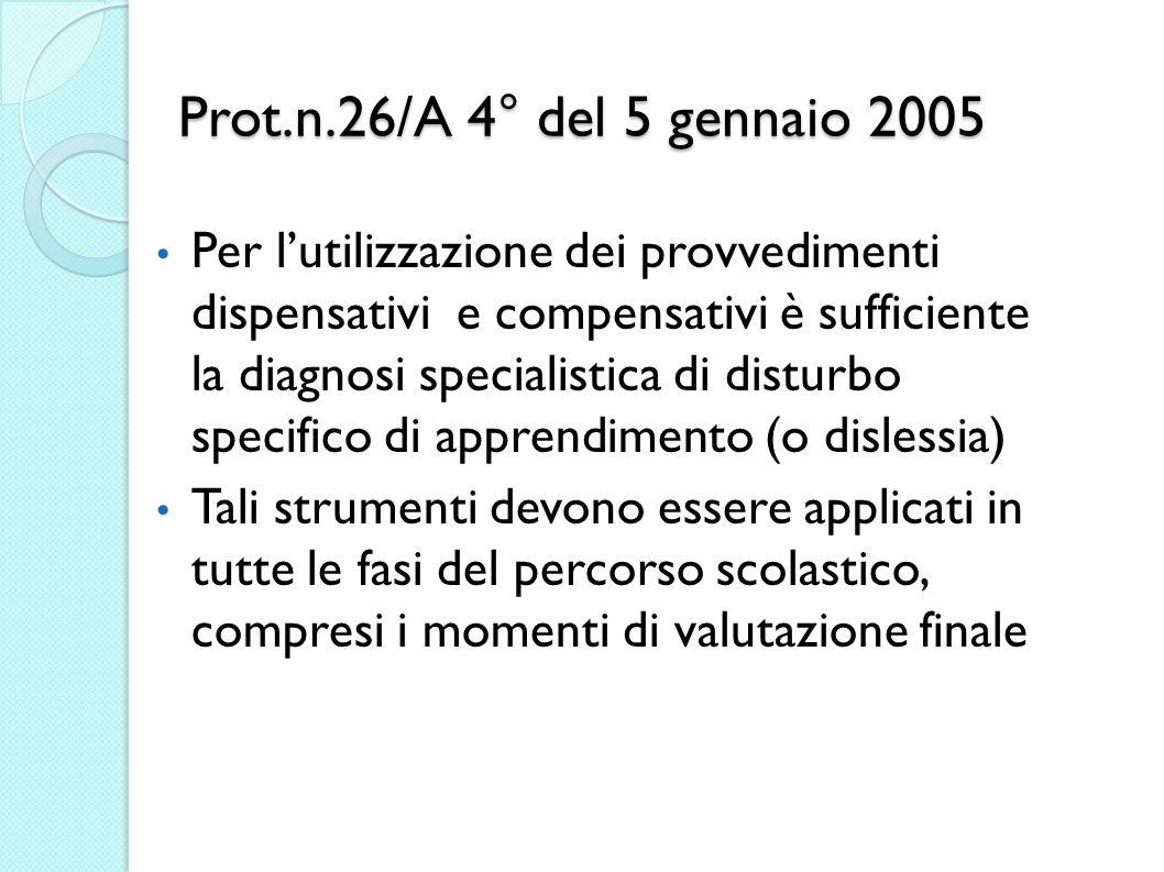 Prot.n.26/A 4° del 5 gennaio 2005