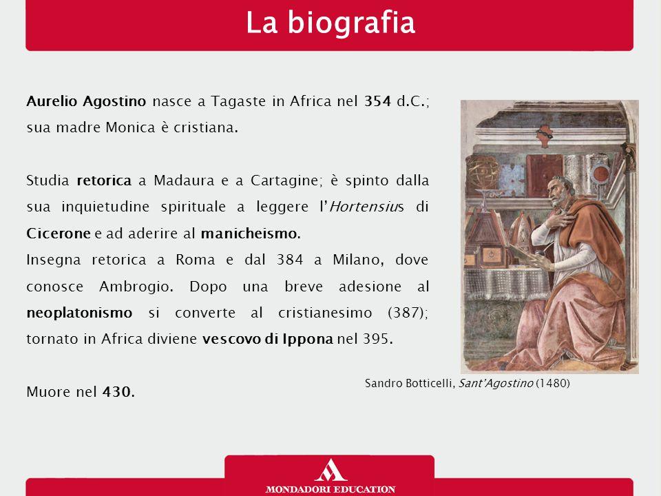 La biografia 26/01/13. Aurelio Agostino nasce a Tagaste in Africa nel 354 d.C.; sua madre Monica è cristiana.
