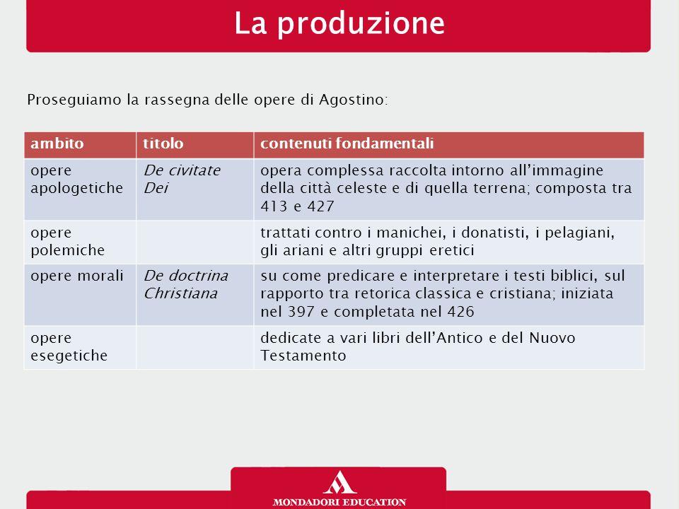 La produzione Proseguiamo la rassegna delle opere di Agostino: ambito
