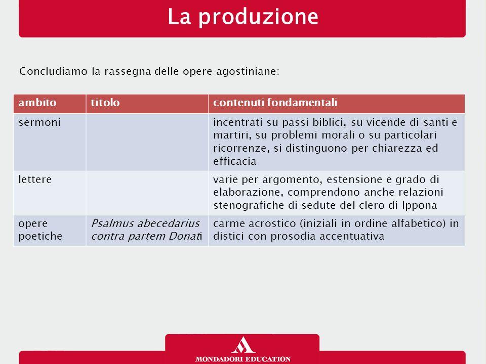 La produzione Concludiamo la rassegna delle opere agostiniane: ambito