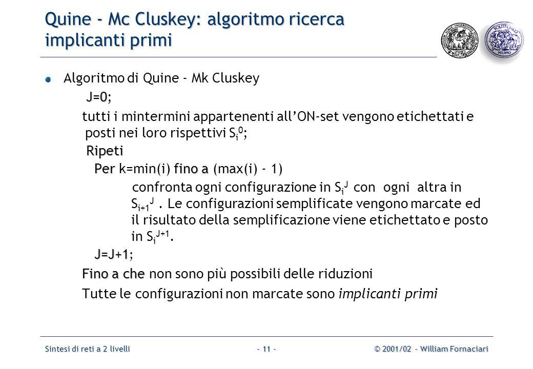 Quine - Mc Cluskey: algoritmo ricerca implicanti primi