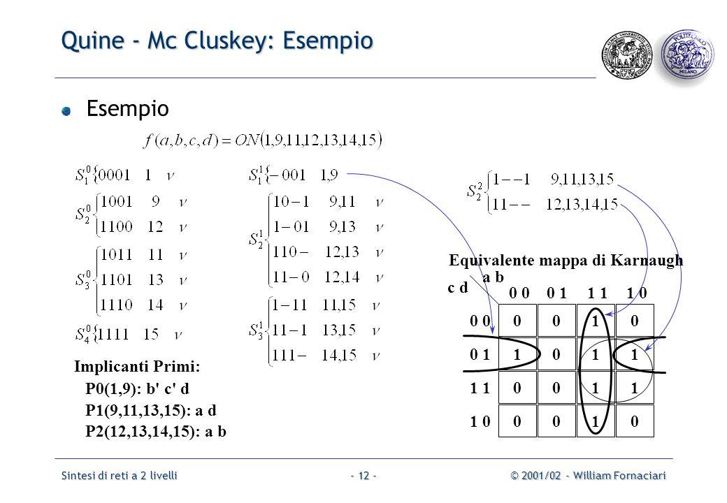 Quine - Mc Cluskey: Esempio