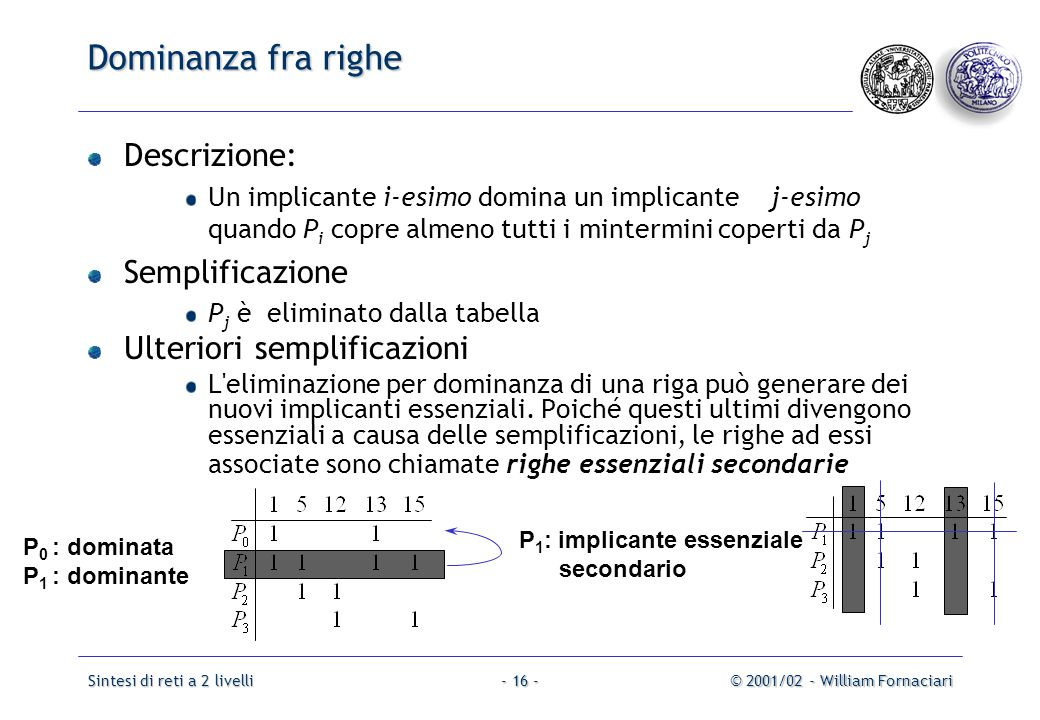 Dominanza fra righe Descrizione: Semplificazione