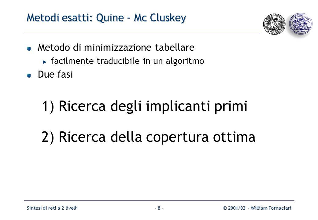 Metodi esatti: Quine - Mc Cluskey