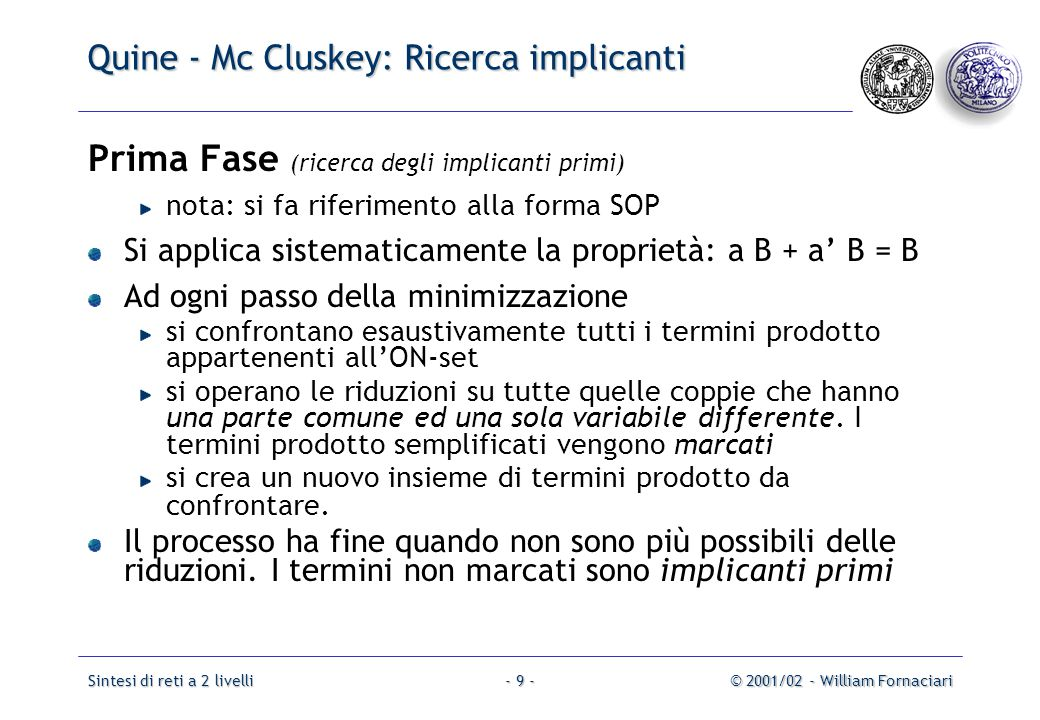 Quine - Mc Cluskey: Ricerca implicanti