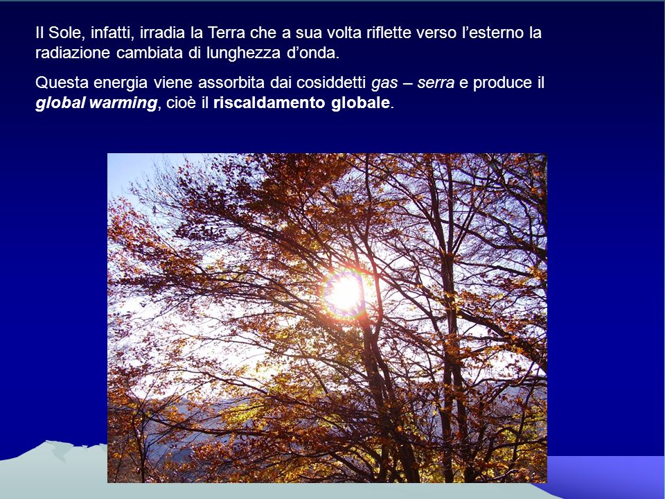 Il Sole, infatti, irradia la Terra che a sua volta riflette verso l'esterno la radiazione cambiata di lunghezza d'onda.