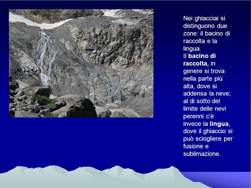 Nei ghiacciai si distinguono due zone: il bacino di raccolta e la lingua.