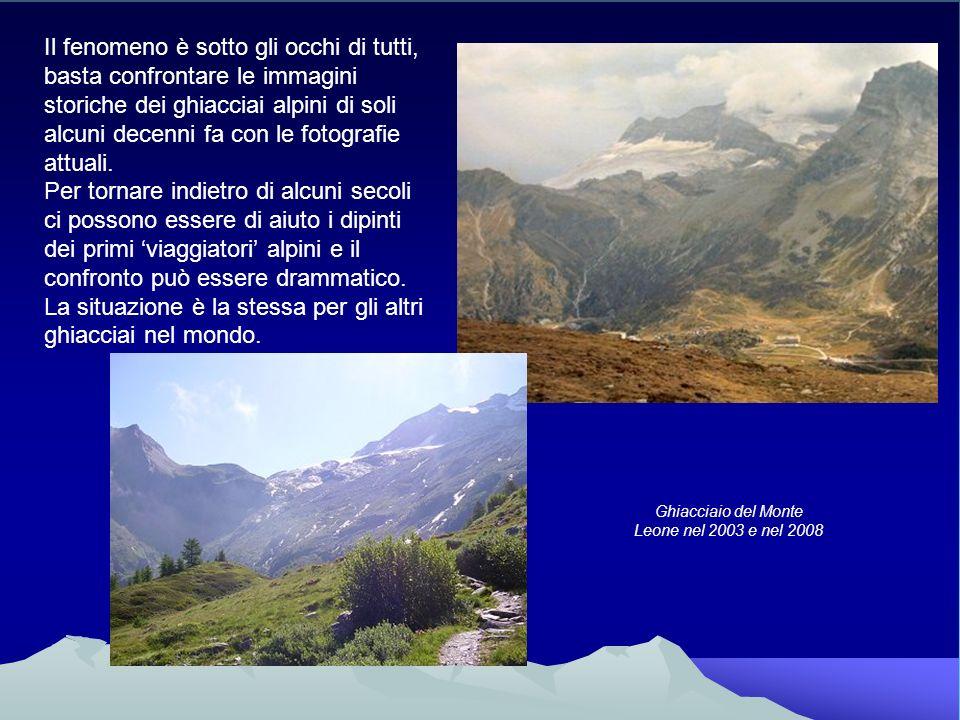 Ghiacciaio del Monte Leone nel 2003 e nel 2008