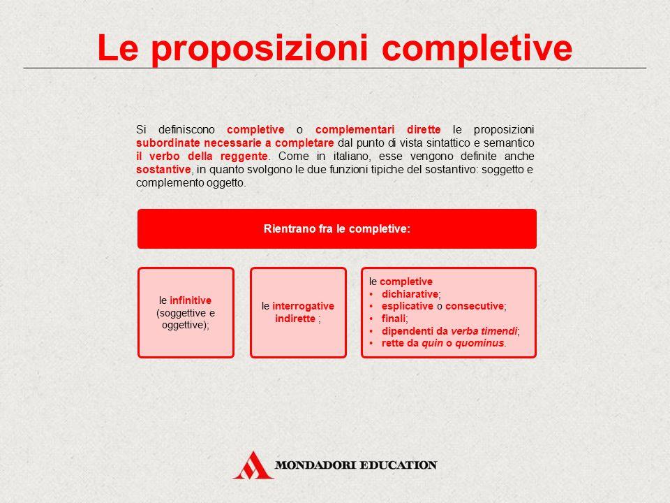 Le proposizioni completive Rientrano fra le completive: