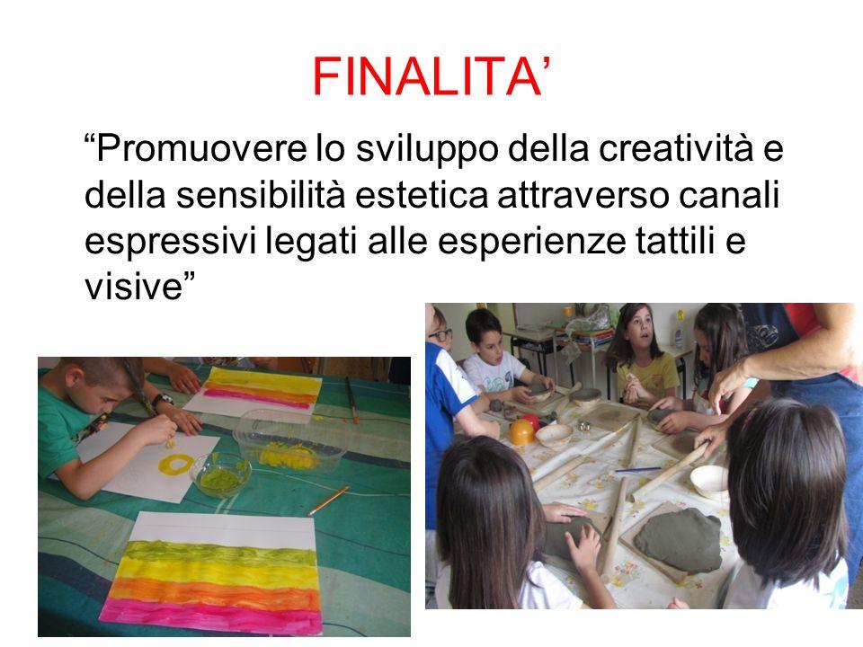 FINALITA' Promuovere lo sviluppo della creatività e della sensibilità estetica attraverso canali espressivi legati alle esperienze tattili e visive