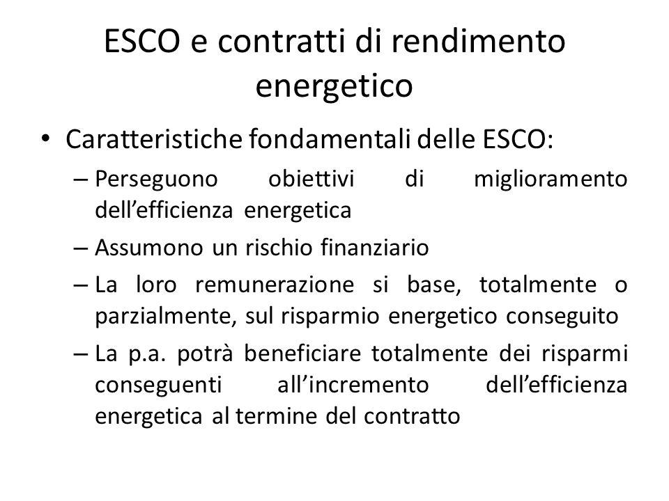 ESCO e contratti di rendimento energetico