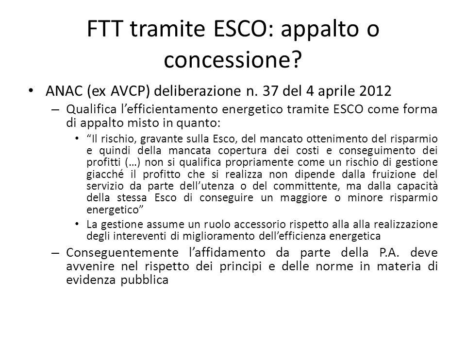FTT tramite ESCO: appalto o concessione